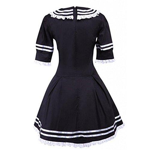 Partiss Coton Manches Femme Volants XXL Longues Robe Lolita Noir cole rUTrq5