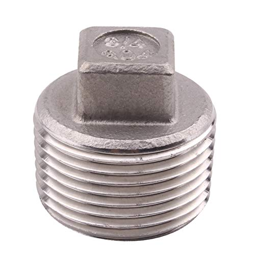 Chrome Plug Pipe - Cast Pipe Fitting Plug - Stainless Steel 304 Square Head Cored Plug, Class 150, 3/4