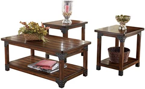 Signature Design by means of Ashley - Murphy 3-Piece Occasional Wooden Table Set, Medium Brown