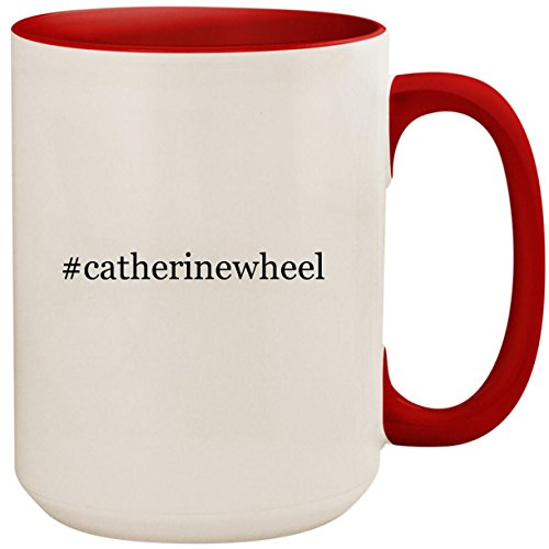 #catherinewheel - 15oz Ceramic Colored Inside and Handle Coffee Mug Cup, Red