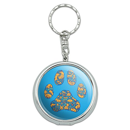 Pets Paw Print with Dog Cat Animal Details Portable Travel Size Pocket Purse Ashtray Keychain with Cigarette Holder (Purse Detail)