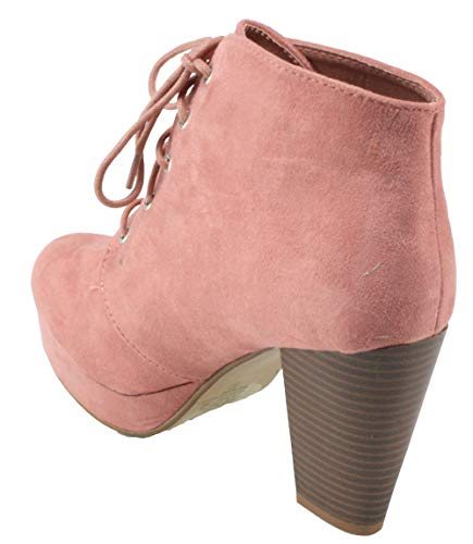 Pink Suede 86 Camille Faux Women's Forever Heel Lace Booties Toe Platform High Ankle up Dusty Almond Chunky waqgU
