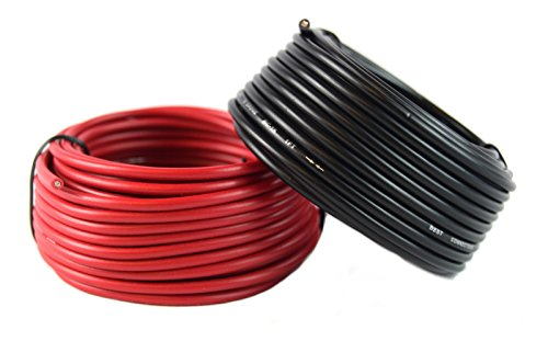 16 Gauge Red & Black Power Ground Wire 25 FT Each 50' Total Stranded Copper Clad ()