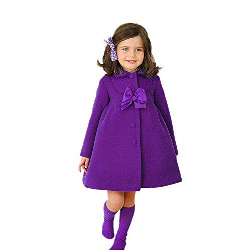 Meetloveyou Baby Girl Sweater Kids Hoodies With Bow Toddler Thick Warm Clothes Children Long Outerwear Infantil Cashmere Coat Purple 5