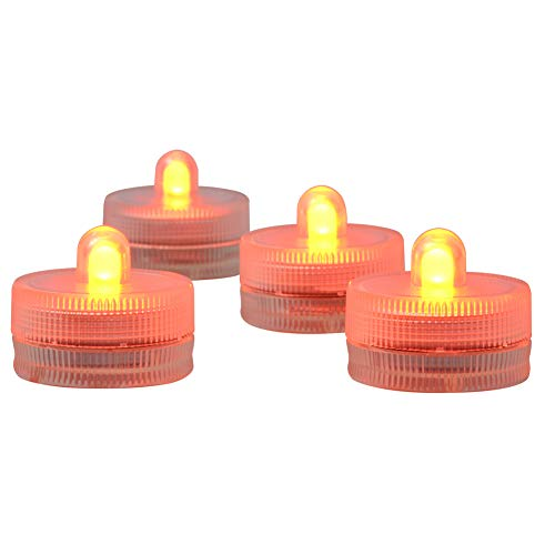 Submersible LED Light CR2032 Batteries Operated 3CM Decorative Lights Night Lights Waterproof Tea Lights for Wedding Party Holiday Centerpieces Decor,10-Pack (Orange)