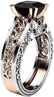 Rings for Women Wedding Engagement Rings Sets Floral Rings Gemstone Black Vintage Luxury Comfort Fit Rings Knu