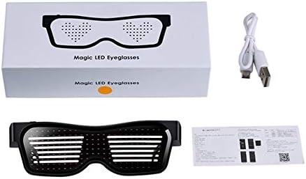 Idiomas personalizados Gafas intermitentes Carga USB Gafas luminosas Luz DIY Multi-lingual Quick Flash Magic LED Gafas - Blanco