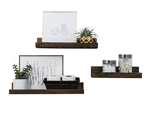 Del Hutson Designs Rustic Luxe Floating Shelves, USA Handmade, Pine Wood, Set of 3 (Dark Walnut)