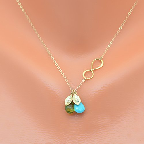Personalized necklace, infinity charm necklace, Natural birthstone, mother