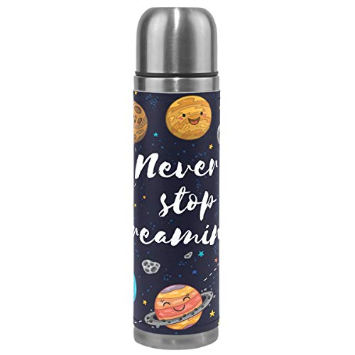 Galaxy Outer Space Vacuum Insulated Stainless Steel Water Bottle, Never Stop Dreaming Cute Solar System Sports Coffee Travel Mug Cup Thermos Genuine Leather Cover Leak-proof Double Walled BPA Free 17 by Wamika