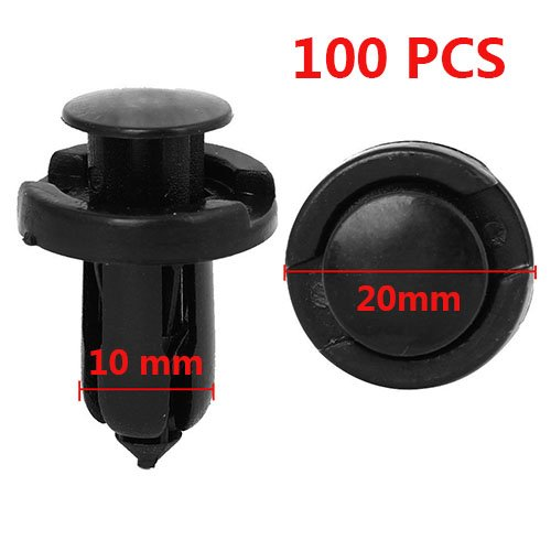 HexAutoparts 100 Pcs 10mm Bumper Hood Fender Splash Guard Retainer Clips Fasteners for Honda Acura Acura Splash Guards