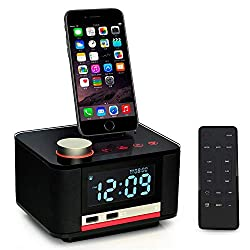 Homtime Docking Station Speaker with Alarm Clock Radio Bluetooth Dual USB Charger for iPhone x 8plus 8 7plus 7 iPod Remote Control Touch Key Dimmable for Bedrooms MFi Certified- Black