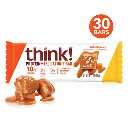 think! (thinkThin) Protein+ 150 Calorie Bars - Salted Caramel, 10g Protein, 5g Sugar, No Artificial Sweeteners, Gluten Free, GMO Free, 1.4 oz bar (30 Count - packaging may vary)