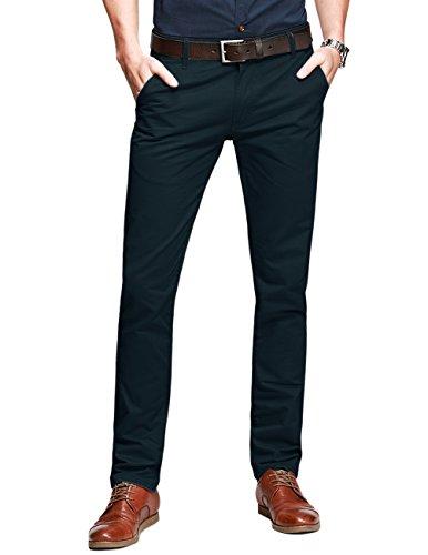 Match Mens Slim-Tapered Flat-Front Casual Pants(32W x 31L,Dark blue)