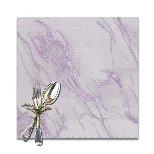 Yuteea Marble Love Purple Metallic Table Placemats for Dining Table,Washable Table mats Heat-Resistant(12x12 inch) Set of 6