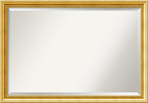 - Amanti Art Framed Townhouse Gold Solid Wood Wall Mirrors, Glass Size 36x24,
