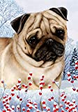 Pug Fawn by Tamara Burnett Winter Berries Garden Dog Breed Flag 28'' x 40''