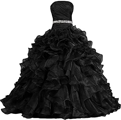 ANTS Women's Pretty Ball Gown Quinceanera Dress Ruffle Prom Dresses Size 22W US Black