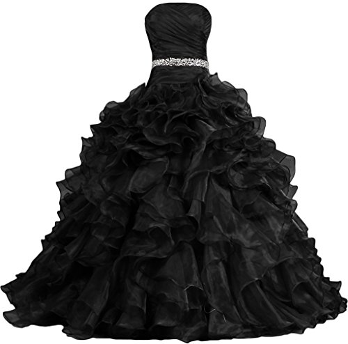 ANTS Women's Pretty Ball Gown Quinceanera Dress Ruffle Prom Dresses Size 14 US Black (Black Wedding Dress)