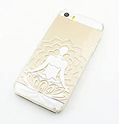 Clear Plastic Case Cover for Iphone 5 5s 5c (Henna) Lotus Meditating Buddha Ganesh (For iPhone 5 5S)
