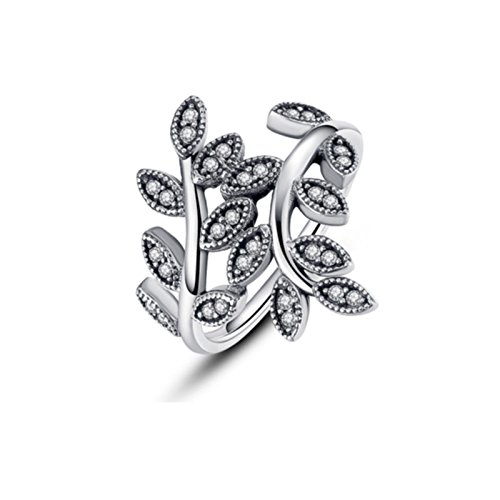 Anna Jewelry Silver Plated Olive Branch Leaves Ring Clear AAA CZ for Women Gift 7