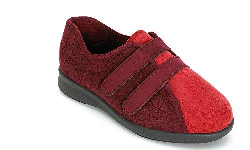 Zapatillas casa Terciopelo mujer EASYB de por para de Burgundy Red estar OIwRwdq