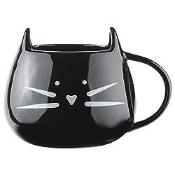 Home-X Ceramic Cat Coffee Mug. Black with White Face