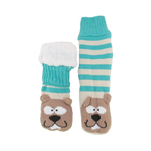 Fuzzy Beaver (Extra Thick Fuzzy Thermal Cabin Fleece-lined Knitted Non-skid Crew Sock, Beaver - 1 Pair)