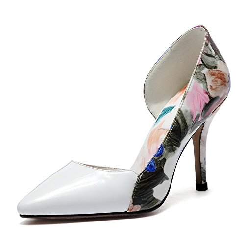 WeiPoot Women's Pointed Closed Toe High-Heels Cow Leather Assorted Color Pull-On Pumps-Shoes, White, 39 ()