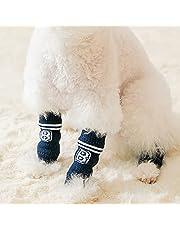 ZHOUBA Skarpety dla psów, buty dla zwierząt, bandaż dla psa, 4 szt. szczeniak skarpetki nadruk projekt antypoślizgowy spód dziewiarskie małe średnie psy ciepłe łapy skarpety wewnątrz