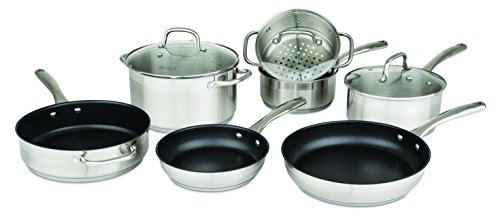 Allrecipes Stainless Steel Cookware Set with Nonstick Fry and Saut Pans, 10 Piece