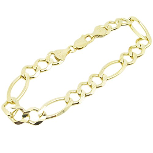 Mens 10k Yellow Gold figaro cuban mariner link bracelet AGMBRP29 8.5 inches long and 10mm wide