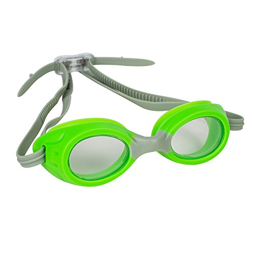 (Splaqua Kids Swim Goggles for Boys and Girls - Adjustable Straps, Silicone Eye Seal, UV Protection and Anti Fog Lenses Swimming Goggle - Neon Green)