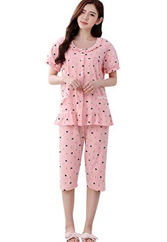 Nuovo Larghi Primavera Camicie Cotone Manica Estive Motivi Clothing Sleepwear Pantaloni pigiama Corte Donna Stampa da COCO Oversize Carina notte pezzi due Pigiami Girocollo qU4wfqX