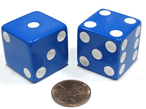 25 Blue Dice - Set of 2 D6 25mm Large Opaque Jumbo Dice - Blue with White Pips