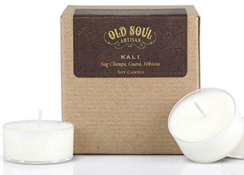 Nag Champa Tealight Candles - Goddess Kali - Nag Champa (sandalwood frangipani plumeria) Tea Light Candle w/Guava Hibiscus Soy 16