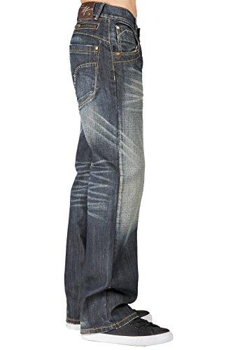 fadfdfa90e8 Level 7 Mens Relaxed Bootcut Premium Jeans Whisker Handsand Wash Zipper  Pocket