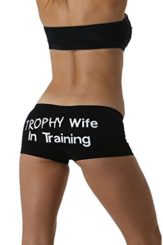 Make Me Laugh Women's Trophy Wife In Training Boy Shorts One Size Fits All (Small - XL) Black