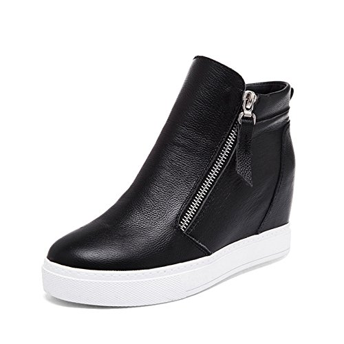 GIY Women Fashion High Top Sneaker Increased Height Platform Casual Wedge Bootie Shoes