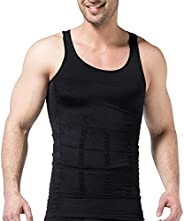 PHCOMRICH Mens Slimming Tank Top Body Shaper Compression Shirts for Men Slim Undershirts Abs Vest for Workout