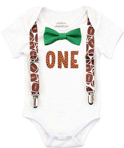57b19d876621 Noah's Boytique Football First Birthday Outfits Boy Brown One Green Bow Tie  Cake Smash Set 6-12 Months