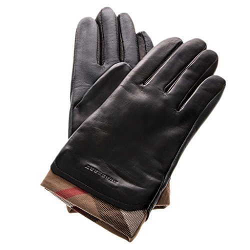 Burberry Women's Check Trim Touch-Screen Leather Gloves Fabric Beige Black 7.5 by BURBERRY