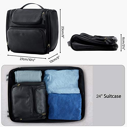 Toiletry Bag, BAGSMART Hanging Leather Toiletry Kit Large Women Mens Travel Organizer Water-resistant for Full Sized Container, Toiletries, Brushes Shaving(Black)