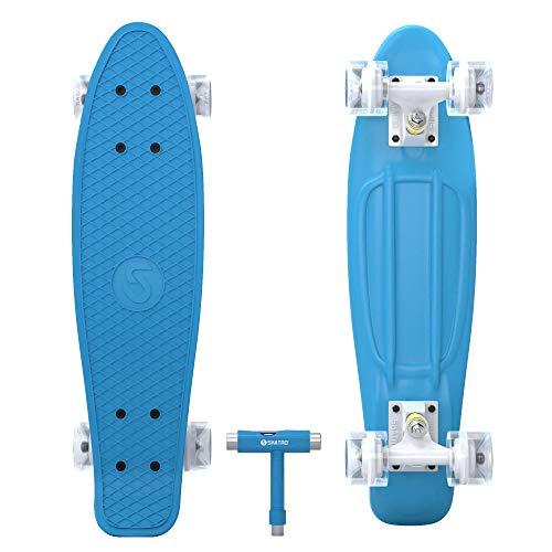 Skatro Mini Cruiser Skateboard. 22x6inch Retro Style Plastic Board Comes Complete