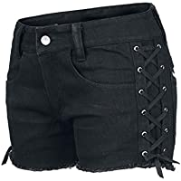 dressation Womens Street Punk Side Lace Up Shorts Jeans Pantalones Negro