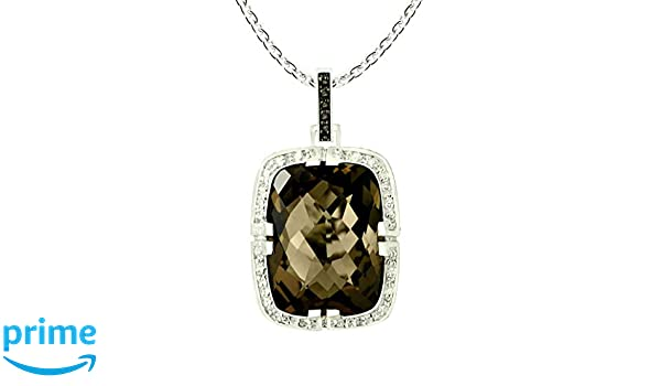 RB Gems Sterling Silver 925 STATEMENT Pendant Necklace 19.35 Cts Smoky Quartz with RHODIUM-PLATED Finish SP141103SMK