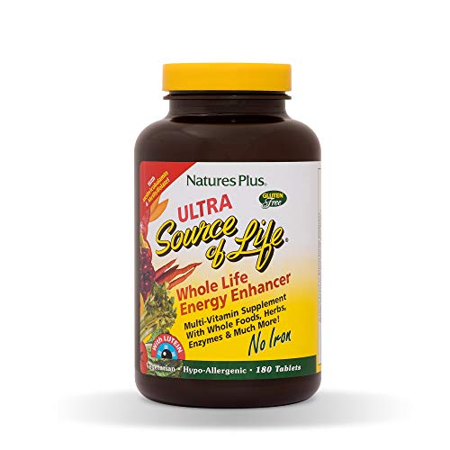 Natures Plus Ultra Source of Life with Lutein No Iron Tablets - 180 Vegetarian Supplements - Whole Food Multivitamin for Overall Health, Energy - Gluten Free - 60 -