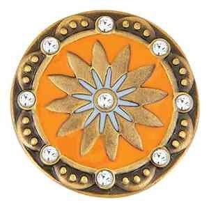 Ginger Snaps BRASS BOHO ORANGE/CLEAR SN06-86 Interchangeable Jewelry Snap - Orange Ginger Snap