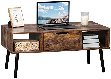 """Bonnlo Retro Coffee Table Mid-Century Accent Coffee Table,Vintage Wooden Cocktail Table with Drawer and Storage Shelf for Living Room,Apartment,Reception Room,39.4"""" Lx 19.7"""" Wx 17.9"""" H"""