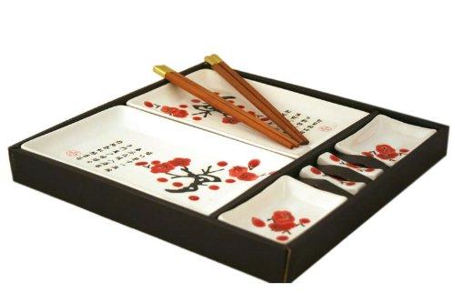 Sushi Dinner - Contemporary Dinnerware 8 PCS Sushi Dinner Set For Two In Gift Box